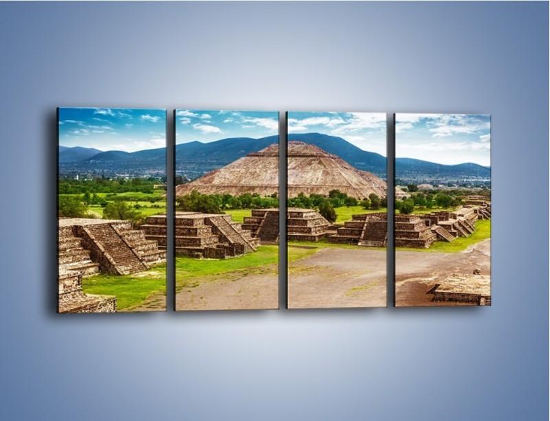 Obraz na płótnie – Piramida Słońca w Meksyku – czteroczęściowy AM450W1