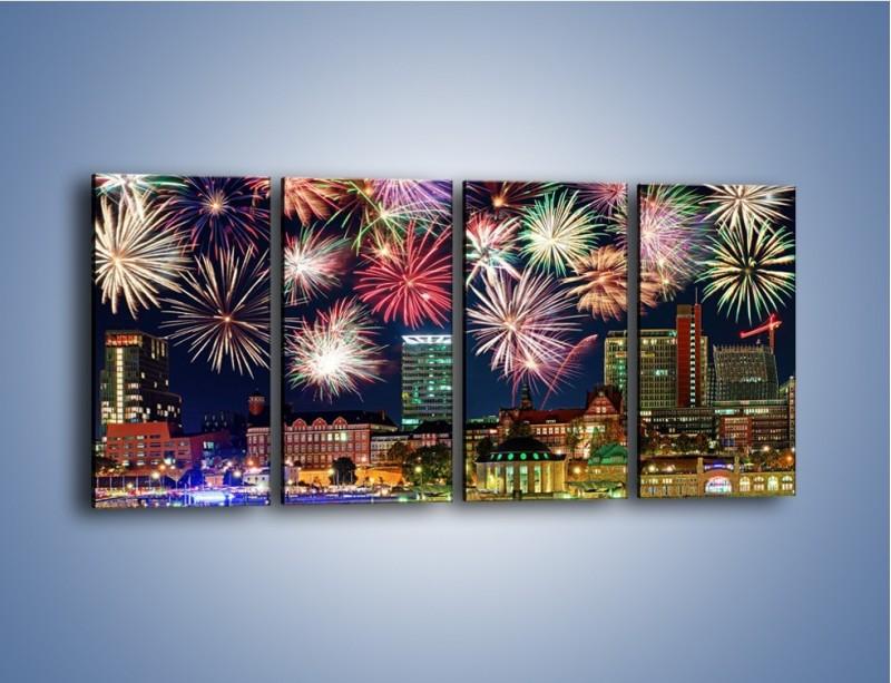 Obraz na płótnie – Noworoczne fajerwerki nad miastem – czteroczęściowy AM452W1