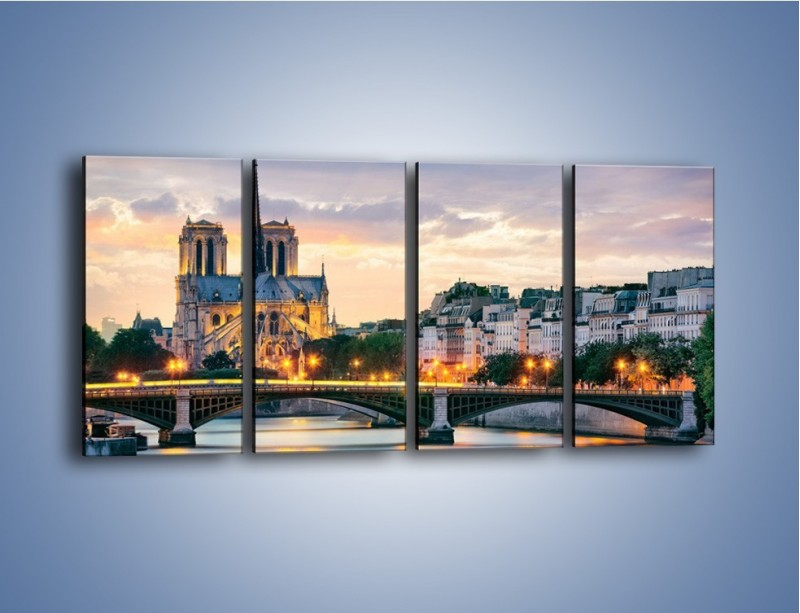 Obraz na płótnie – Katedra Notre Dame – czteroczęściowy AM454W1