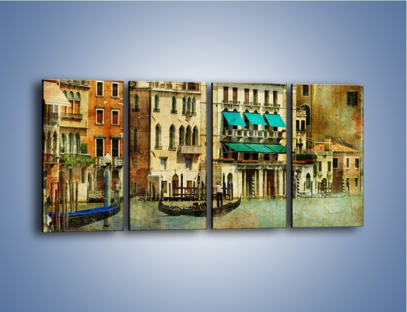 Obraz na płótnie – Weneckie domy w stylu vintage – czteroczęściowy AM459W1