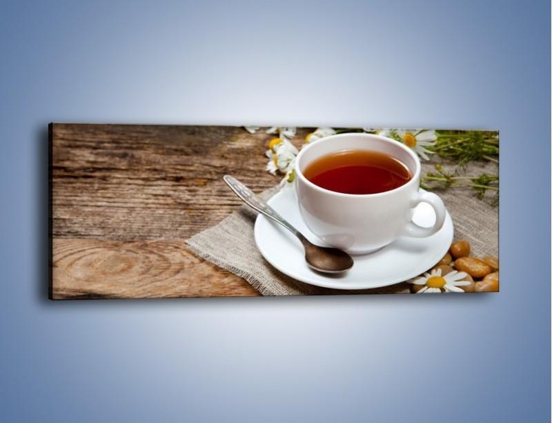 Obraz na płótnie – Herbata wśród stokrotek – jednoczęściowy panoramiczny JN413