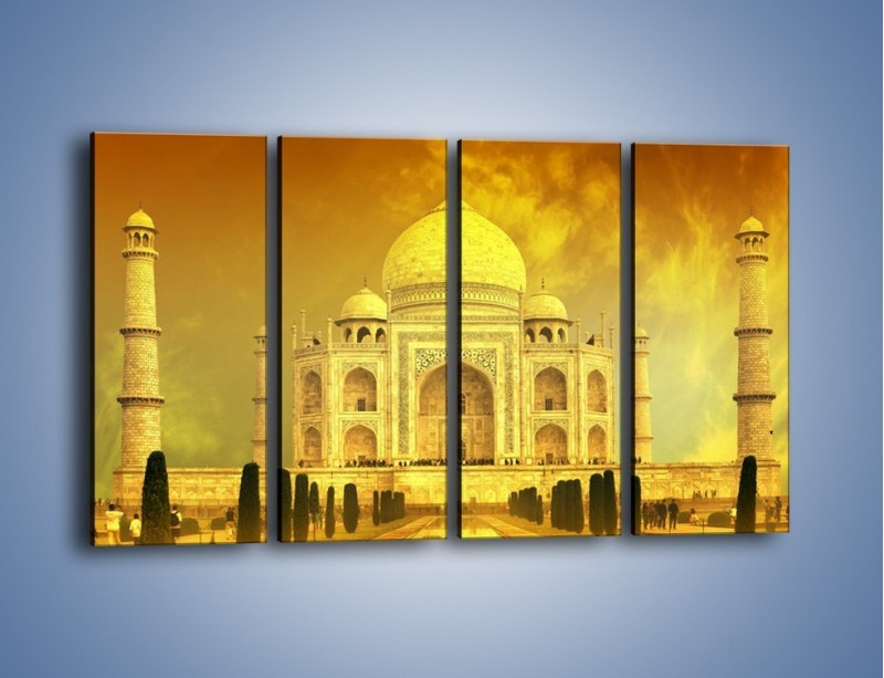 Obraz na płótnie – Tadź Mahal w żółtym kolorze – czteroczęściowy AM465W1