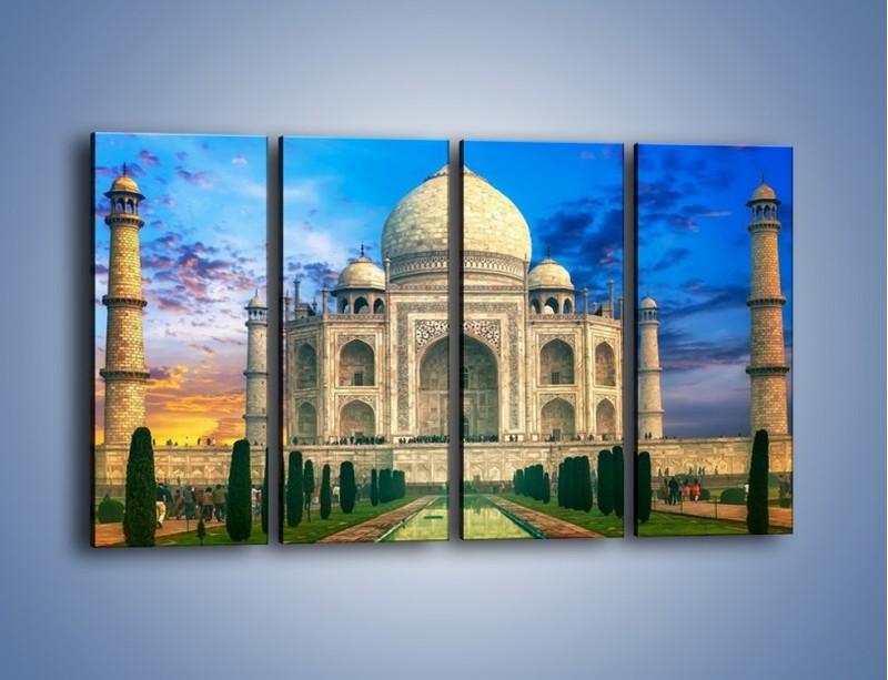 Obraz na płótnie – Tadź Mahal pod niebieskim niebem – czteroczęściowy AM466W1