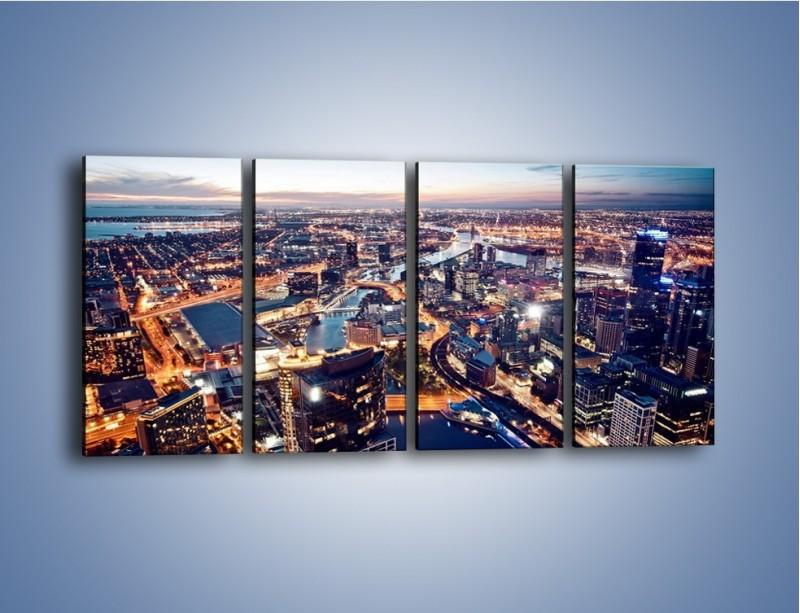 Obraz na płótnie – Panorama Melbourne po zmierzchu – czteroczęściowy AM470W1