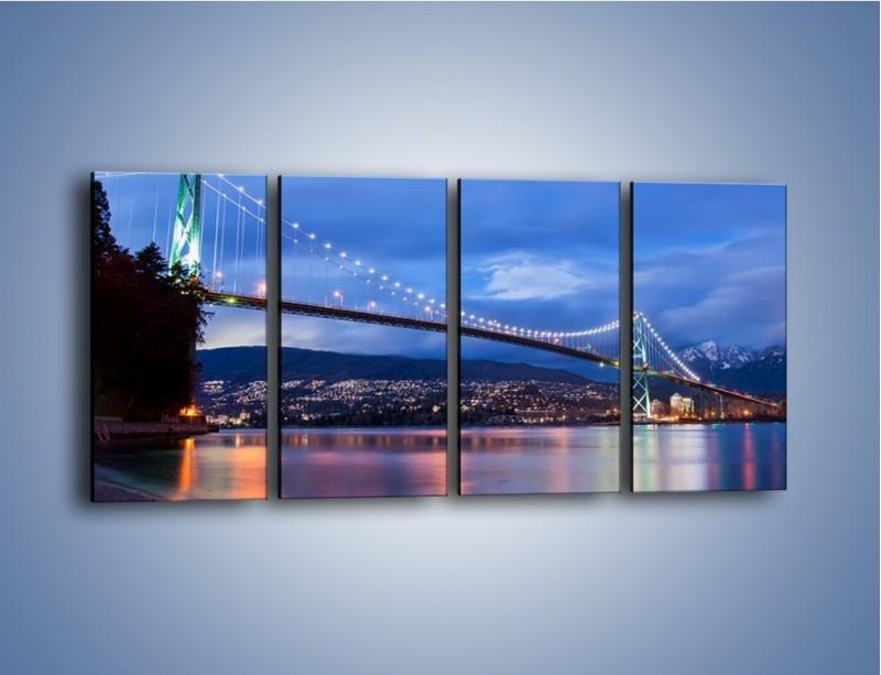 Obraz na płótnie – Most Lions Gate w Vancouver – czteroczęściowy AM471W1