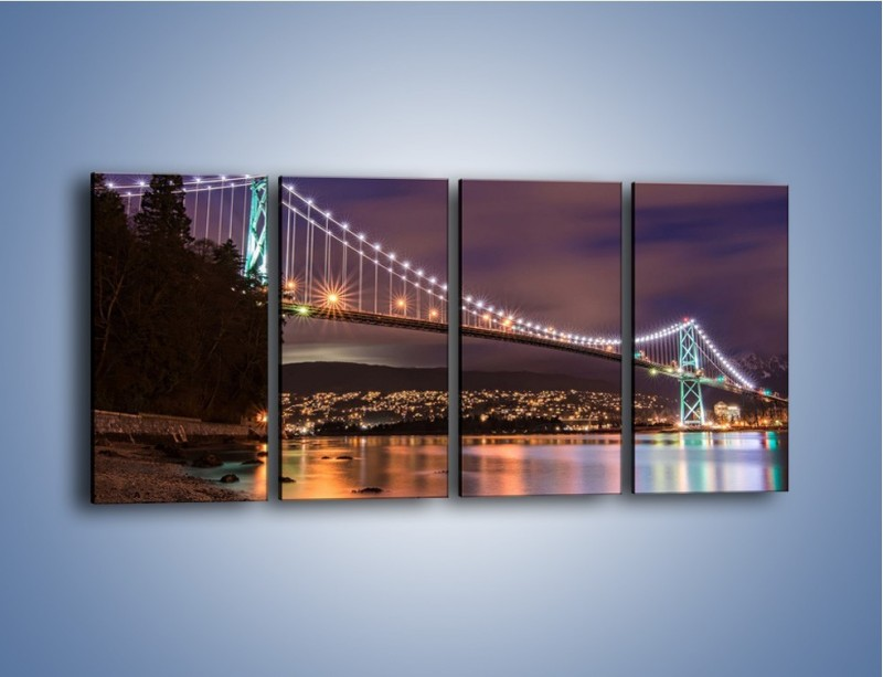 Obraz na płótnie – Most Lions Gate w Vancouver nocą – czteroczęściowy AM472W1