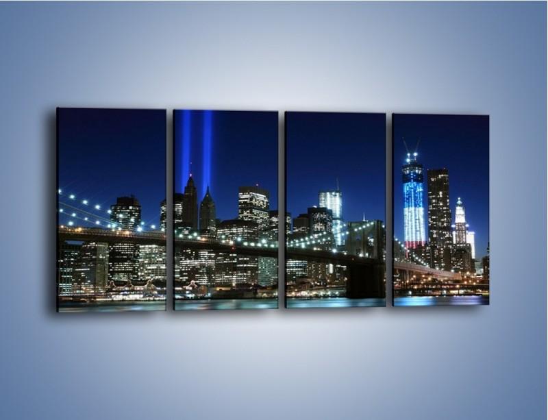 Obraz na płótnie – Most Brookliński nocą – czteroczęściowy AM476W1