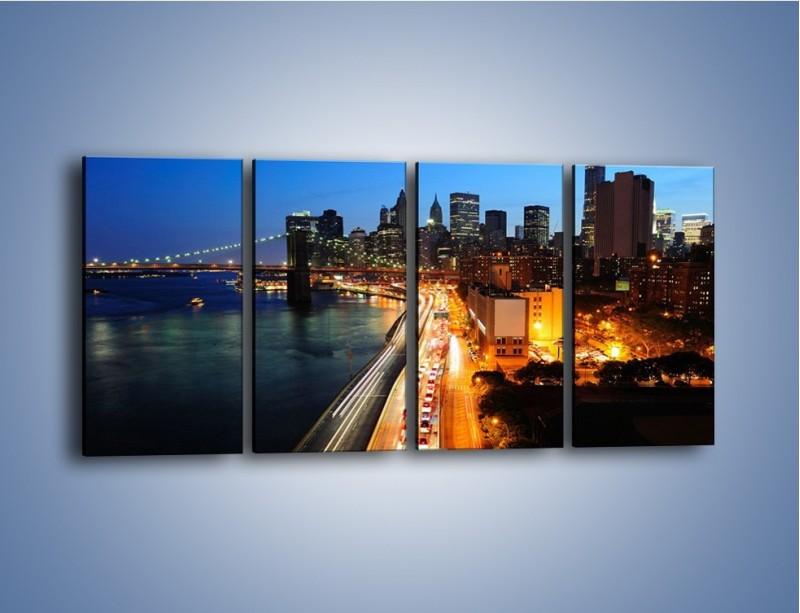 Obraz na płótnie – Manhattan wieczorową porą – czteroczęściowy AM477W1