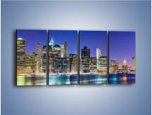 Obraz na płótnie – Kolorowa panorama Nowego Yorku – czteroczęściowy AM479W1