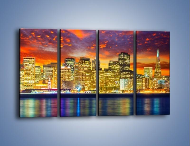Obraz na płótnie – Wieżowce San Francisco nad wodą – czteroczęściowy AM481W1