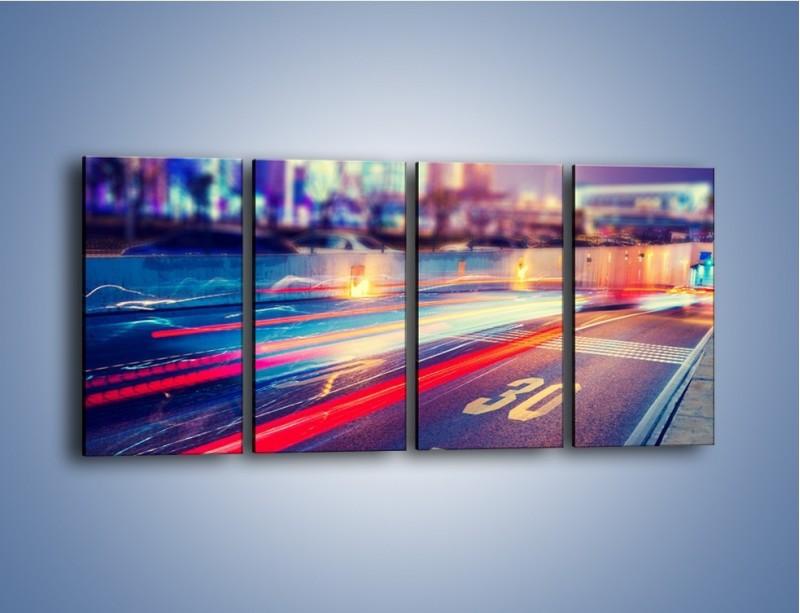 Obraz na płótnie – Ulica w ruchu świateł samochodowych – czteroczęściowy AM482W1