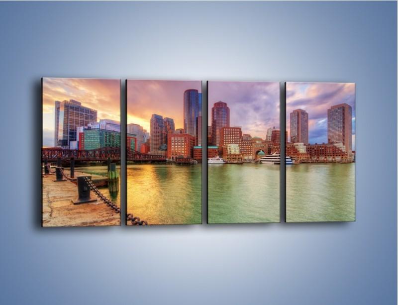 Obraz na płótnie – Widok na centrum Bostonu – czteroczęściowy AM486W1