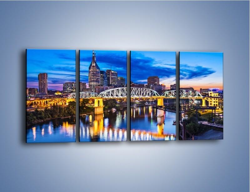 Obraz na płótnie – Most Shelby Street w Nashville – czteroczęściowy AM489W1