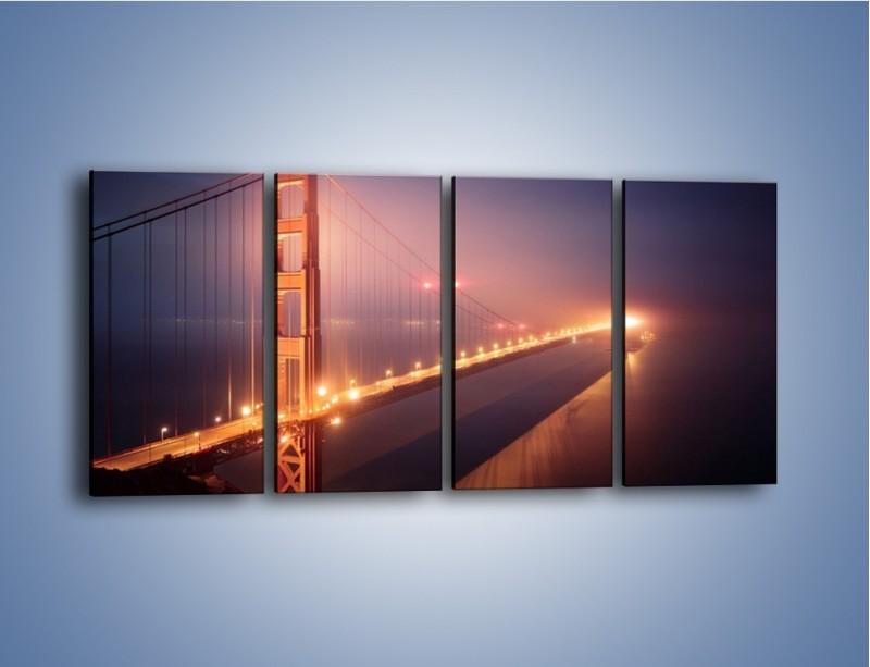 Obraz na płótnie – Most Golden Gate w nocnej mgle – czteroczęściowy AM490W1