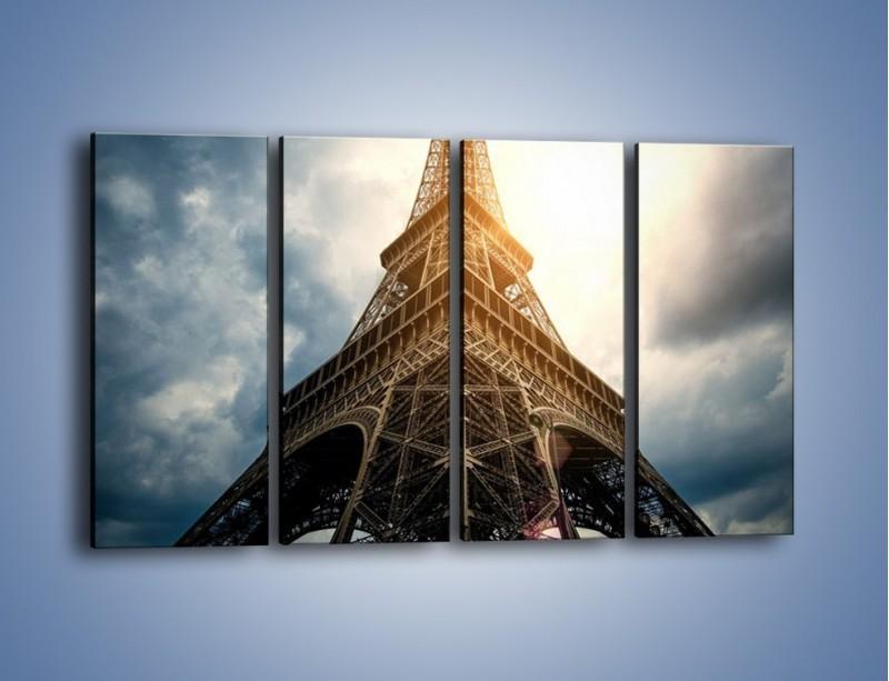 Obraz na płótnie – Wieża Eiffla w blasku słońca – czteroczęściowy AM494W1