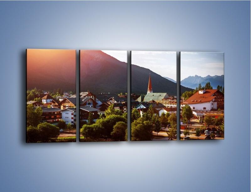 Obraz na płótnie – Austryjackie miasteczko u podnóży gór – czteroczęściowy AM496W1