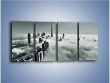 Obraz na płótnie – Centrum Dubaju we mgle – czteroczęściowy AM502W1