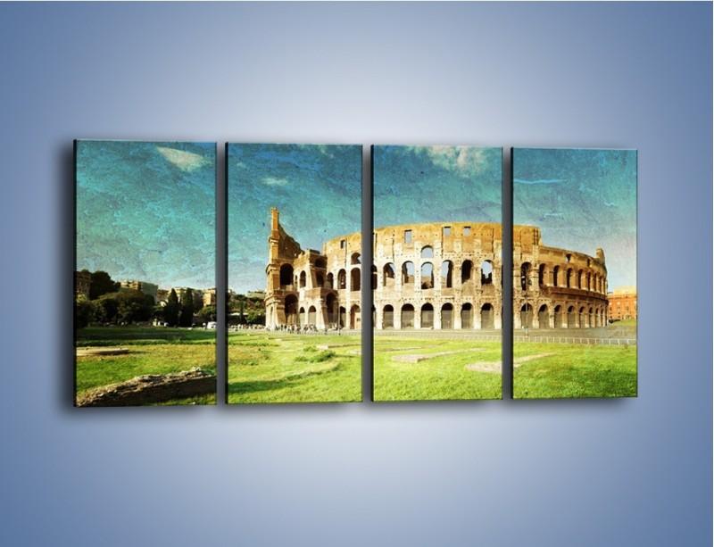 Obraz na płótnie – Koloseum w stylu vintage – czteroczęściowy AM503W1