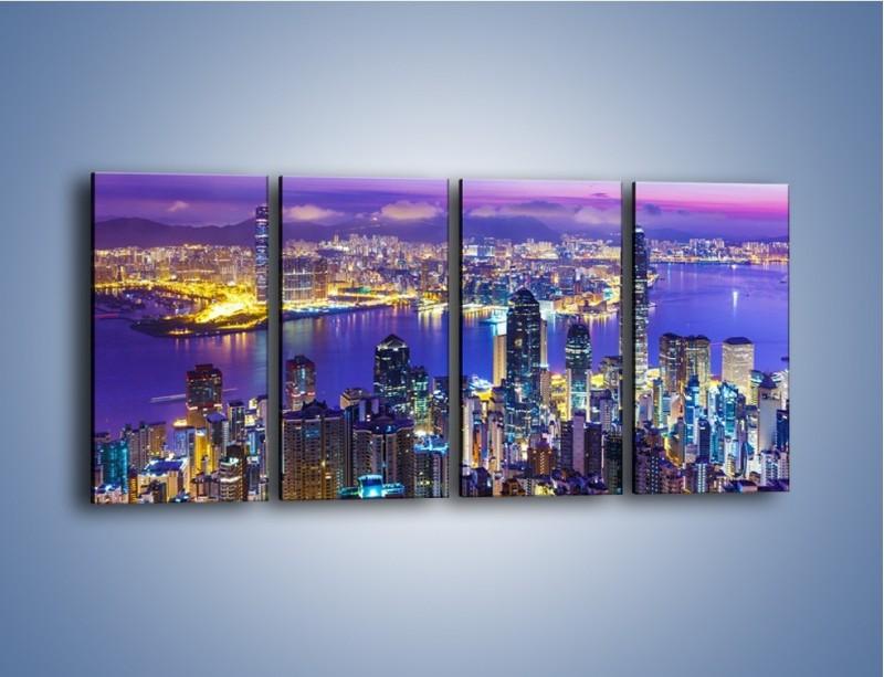 Obraz na płótnie – Wieczorna panorama Hong Kongu – czteroczęściowy AM505W1