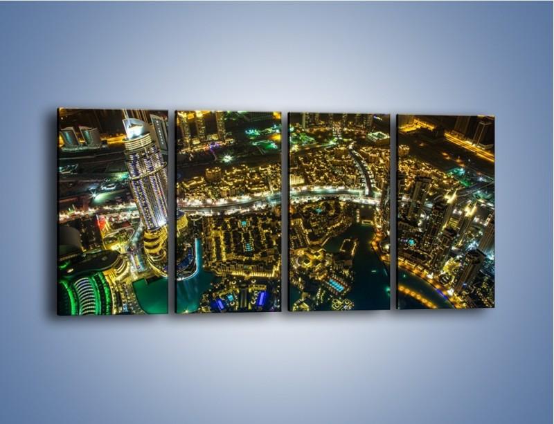 Obraz na płótnie – Dubaj nocą z lotu ptaka – czteroczęściowy AM507W1