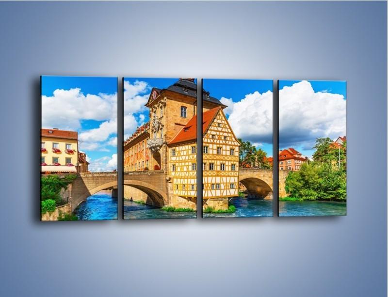 Obraz na płótnie – Ratusz w mieście Bamberg – czteroczęściowy AM513W1