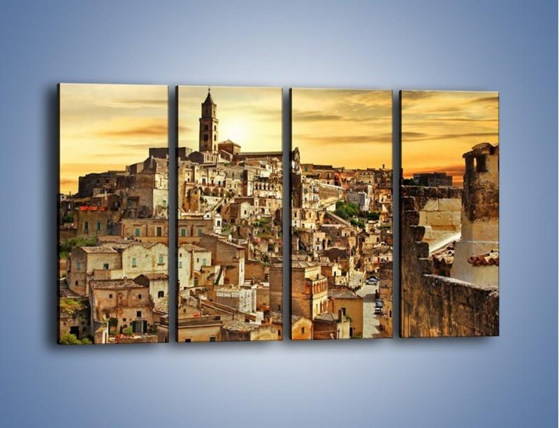 Obraz na płótnie – Matera – miasto wykute w skale – czteroczęściowy AM517W1