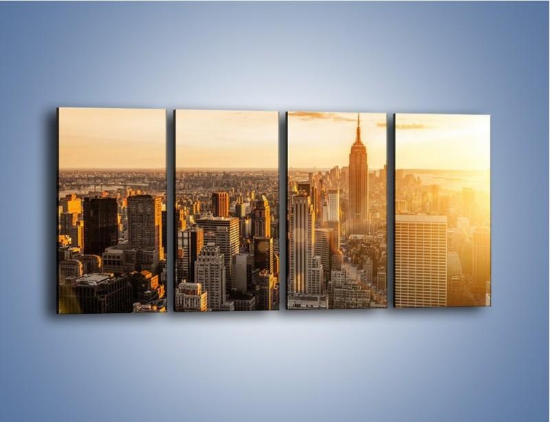 Obraz na płótnie – Zachód słońca nad Nowym Jorkiem – czteroczęściowy AM550W1