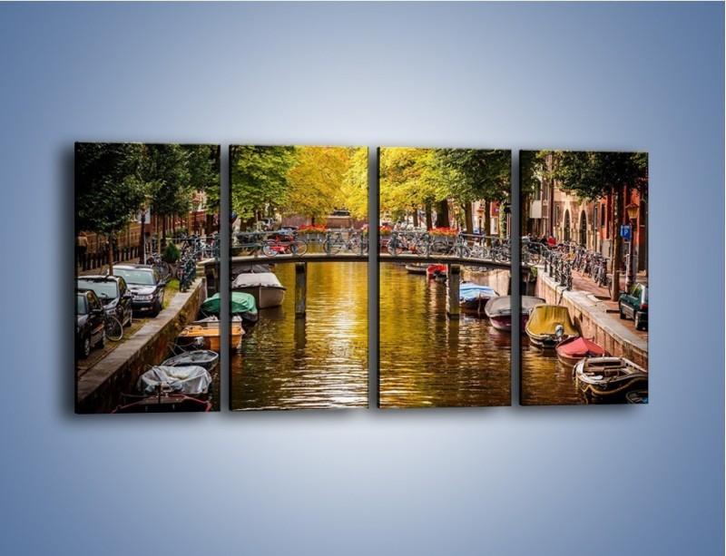 Obraz na płótnie – Most nad amsterdamskim kanałem – czteroczęściowy AM552W1