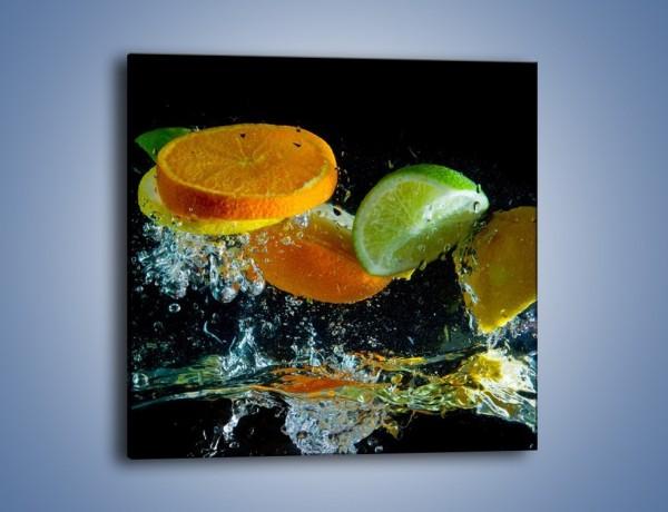 Obraz na płótnie – Radośnie skąpane owocowe kawałki – jednoczęściowy kwadratowy JN099