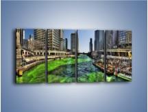 Obraz na płótnie – Chicago River w Dzień św. Patryka – czteroczęściowy AM605W1