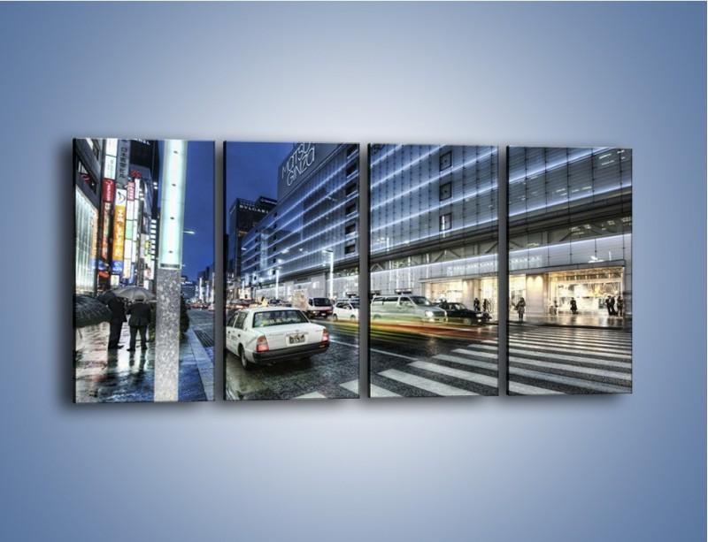 Obraz na płótnie – Ulica Tokyo w deszczu – czteroczęściowy AM613W1