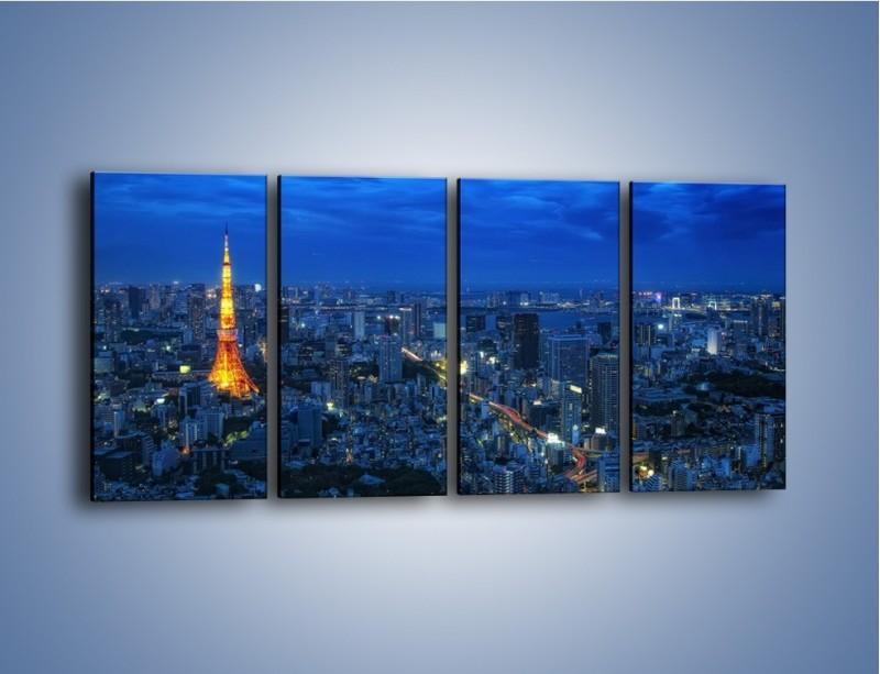 Obraz na płótnie – Tokyo Tower w Japonii – czteroczęściowy AM621W1