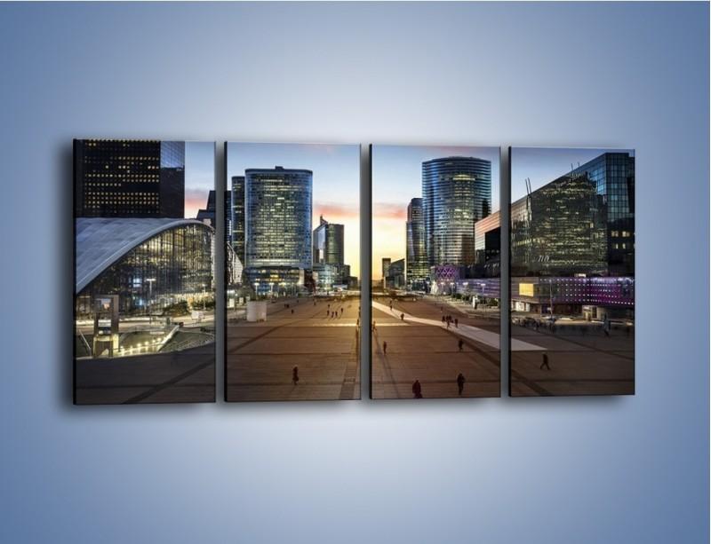 Obraz na płótnie – Quartier La Défense w Paryżu – czteroczęściowy AM647W1