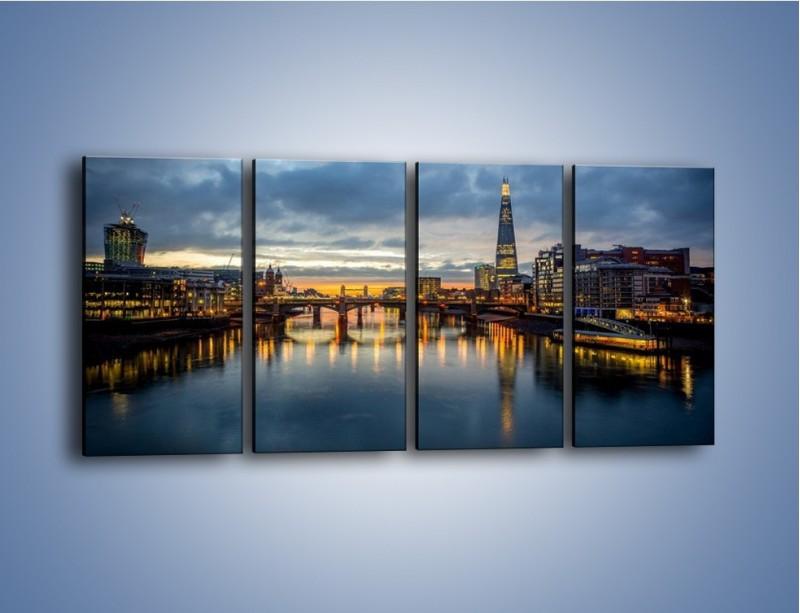Obraz na płótnie – Millennium Bridge w Londynie – czteroczęściowy AM651W1
