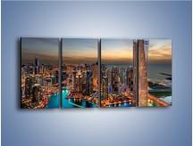 Obraz na płótnie – Centrum Dubaju wieczorową porą – czteroczęściowy AM656W1
