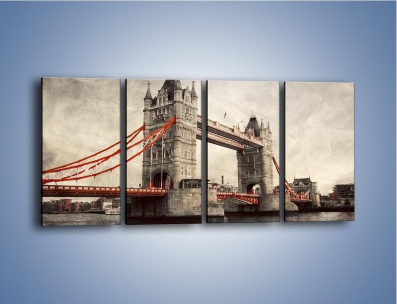 Obraz na płótnie – Tower Bridge w stylu vintage – czteroczęściowy AM668W1