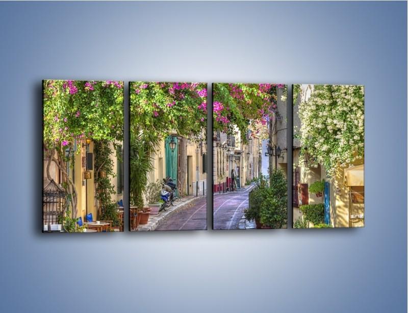 Obraz na płótnie – Uliczka w historycznej części Aten – czteroczęściowy AM675W1