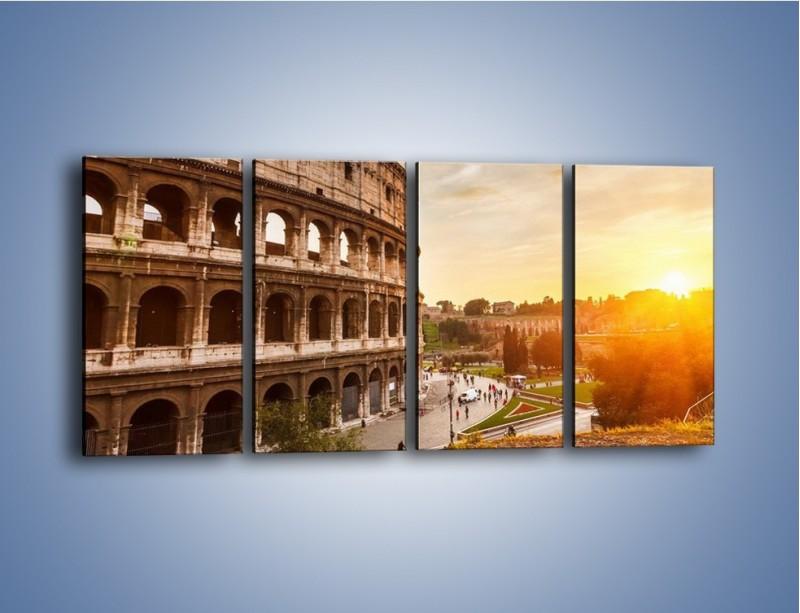 Obraz na płótnie – Rzymskie Koloseum o zachodzie słońca – czteroczęściowy AM684W1