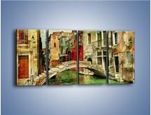 Obraz na płótnie – Mostek nad kanałem w Wenecji vintage – czteroczęściowy AM688W1