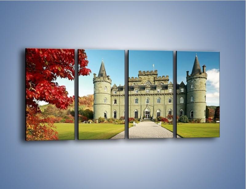Obraz na płótnie – Zamek Inveraray w Szkocji – czteroczęściowy AM691W1
