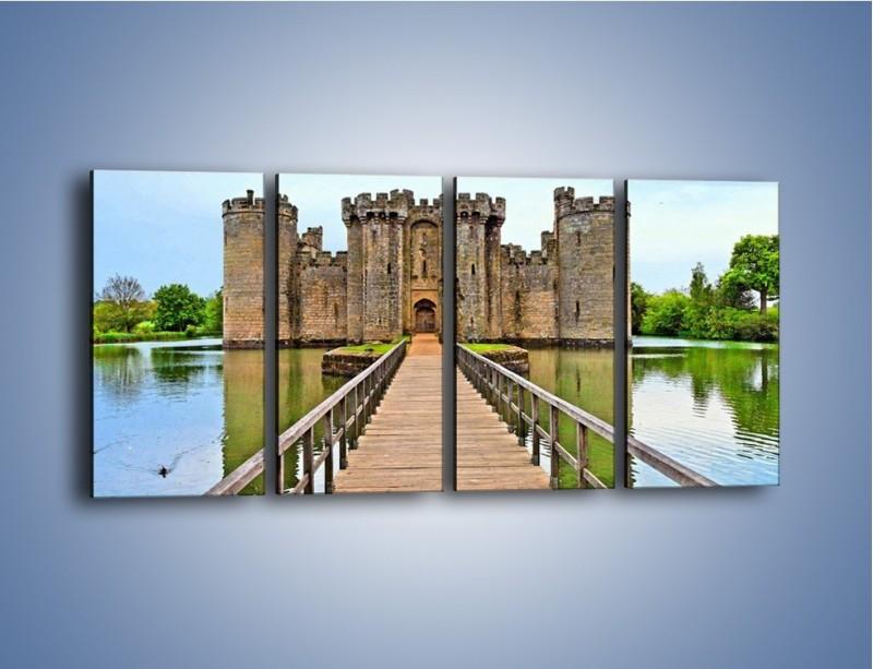 Obraz na płótnie – Zamek Bodiam w Wielkiej Brytanii – czteroczęściowy AM692W1