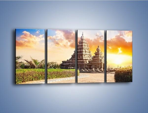 Obraz na płótnie – Świątynia Śiwy o zachodzie słońca – czteroczęściowy AM696W1
