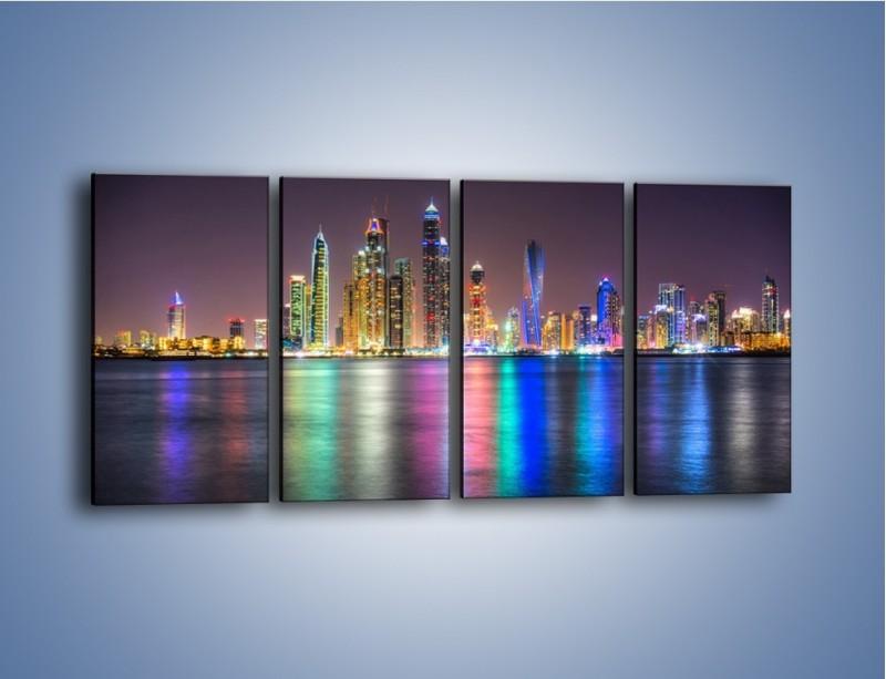 Obraz na płótnie – Kolorowe drapacze chmur w Dubaju – czteroczęściowy AM724W1