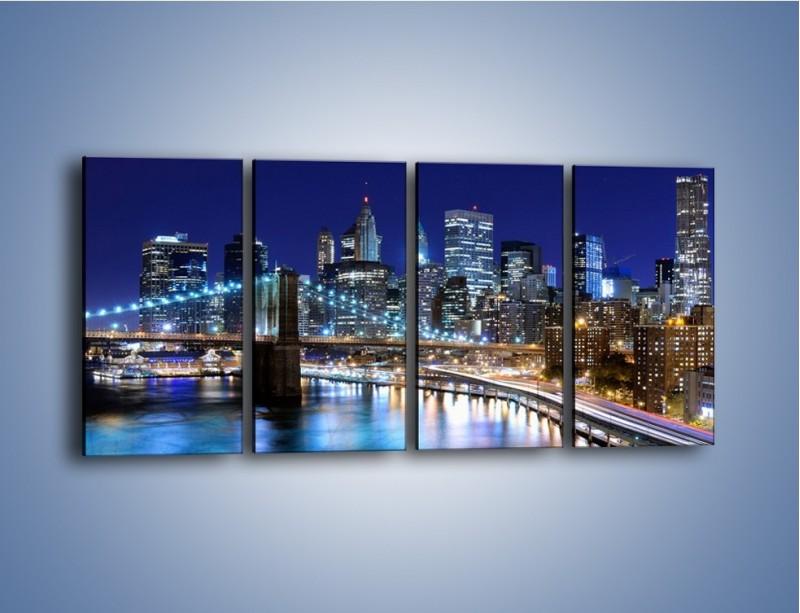Obraz na płótnie – Nocne światła Nowego Yorku – czteroczęściowy AM726W1