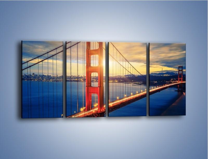 Obraz na płótnie – Zachód słońca nad Mostem Golden Gate – czteroczęściowy AM738W1