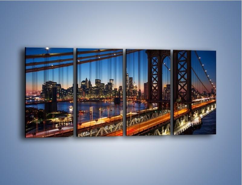 Obraz na płótnie – Nowojorskie mosty na tle Manhattanu – czteroczęściowy AM751W1