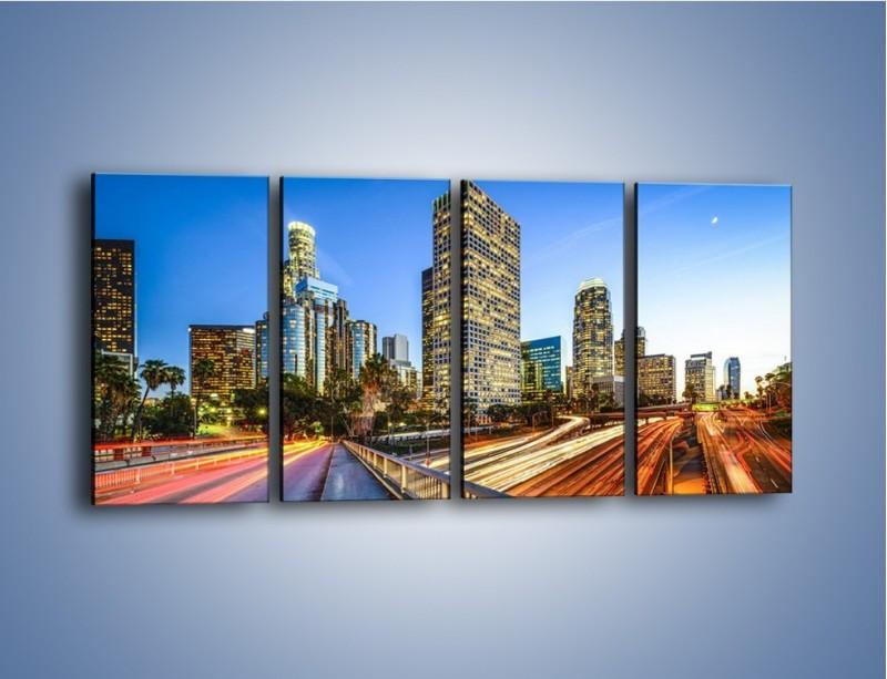 Obraz na płótnie – Światła Los Angeles o zmierzchu – czteroczęściowy AM753W1