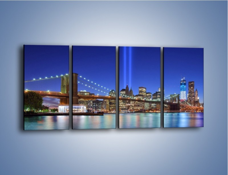 Obraz na płótnie – Świetlne kolumny w Nowym Jorku – czteroczęściowy AM757W1