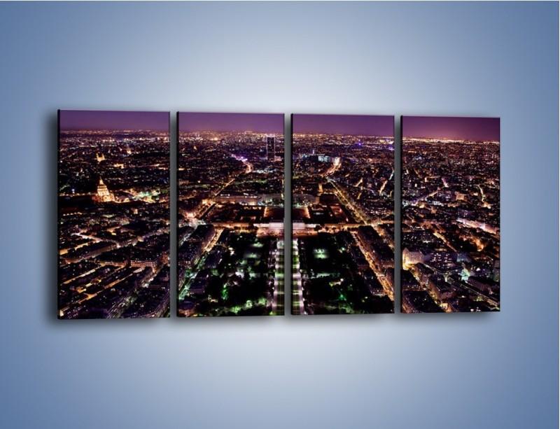 Obraz na płótnie – Panorama Paryża z Wieży Eiffla – czteroczęściowy AM764W1