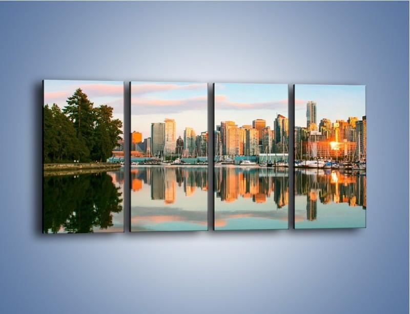 Obraz na płótnie – Widok na Vancouver – czteroczęściowy AM765W1